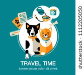 Stock vector vector illustration design card with flat style icons of animal transportation pet friendly 1112205050