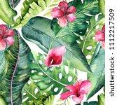 tropical seamless floral summer ... | Shutterstock . vector #1112217509