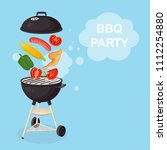 portable round barbecue with... | Shutterstock .eps vector #1112254880