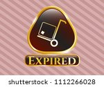 gold emblem or badge with... | Shutterstock .eps vector #1112266028