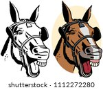 a portrait of a laughing horse. | Shutterstock .eps vector #1112272280