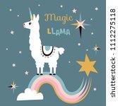 cute unicorn llama  alpaca .... | Shutterstock .eps vector #1112275118