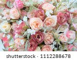 romantic pastel rose wedding... | Shutterstock . vector #1112288678