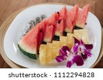 colorful summer  exotic fruit... | Shutterstock . vector #1112294828