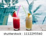 water melon red fresh juice and ... | Shutterstock . vector #1112295560