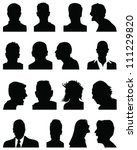 set of silhouettes of heads 5... | Shutterstock .eps vector #111229820