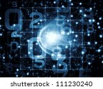 Artistic background made of numbers and abstract design elements for use with projects on modern computing, virtual reality and digital processing - stock photo