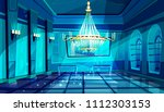 Ballroom In Night Vector...