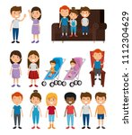 group of kids friends characters | Shutterstock .eps vector #1112304629