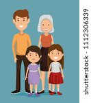 parents with kids avatars... | Shutterstock .eps vector #1112306339