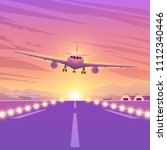 airplane on pink background... | Shutterstock .eps vector #1112340446