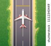 airplane on road. landing... | Shutterstock .eps vector #1112340449