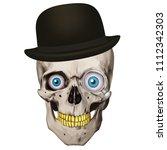 human realistic skull. blue... | Shutterstock .eps vector #1112342303