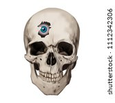 human realistic skull. blue... | Shutterstock .eps vector #1112342306