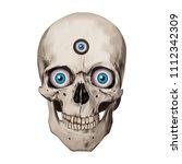 human realistic skull. blue... | Shutterstock .eps vector #1112342309