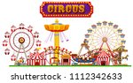a circus fun fair on white... | Shutterstock .eps vector #1112342633