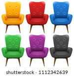 a set of colourful chair... | Shutterstock .eps vector #1112342639