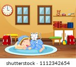 a baby sleeping time at home...   Shutterstock .eps vector #1112342654