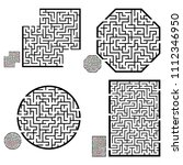 set of labyrinths  mazes... | Shutterstock .eps vector #1112346950