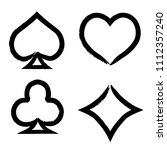 playing card brush symbols.... | Shutterstock .eps vector #1112357240