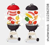 portable round barbecue with... | Shutterstock .eps vector #1112362538