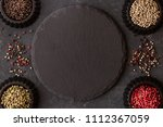 herb and spice ingredients on... | Shutterstock . vector #1112367059