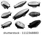 set of air balloons  zeppelin.... | Shutterstock .eps vector #1112368883