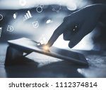 hands using laptop with digital ... | Shutterstock . vector #1112374814