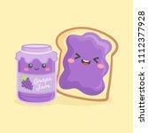 cute grape jelly jam bottle jar ... | Shutterstock .eps vector #1112377928