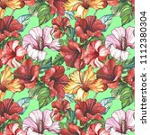 pattern with tropical flowers... | Shutterstock . vector #1112380304