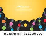 colorful vinyl records with... | Shutterstock .eps vector #1112388830