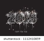 new years 2019 polygonal line... | Shutterstock .eps vector #1112410859