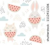 cute kitty and bunny seamless... | Shutterstock .eps vector #1112411336