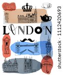 london. hand drawn set of... | Shutterstock .eps vector #1112420693