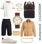 collage of men's clothes on... | Shutterstock . vector #1112423009