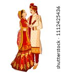 indian bride and groom in... | Shutterstock .eps vector #1112425436