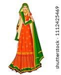 beautiful indian bride in...   Shutterstock .eps vector #1112425469