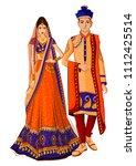 indian bride and groom in... | Shutterstock .eps vector #1112425514