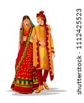 indian bride and groom in... | Shutterstock .eps vector #1112425523