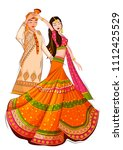 indian bride and groom in... | Shutterstock .eps vector #1112425529