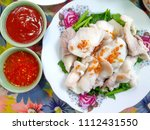 boiled fish dip with spicy... | Shutterstock . vector #1112431550