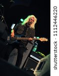 """Small photo of Vigevano Italy, from 13 June to 24 July 2012, live concerts """"10 Giorni Suonati 2012"""" Festival at the Castle of Vigevano: Wednesday 13 June 2012, the bassist of Molly Hatchet,Tim Lindsey"""