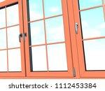 sky seen through an wooden... | Shutterstock . vector #1112453384