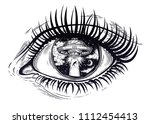 all seeing eye with fantastic... | Shutterstock .eps vector #1112454413