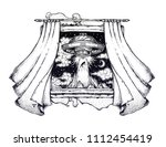 window with curtains blown by... | Shutterstock .eps vector #1112454419
