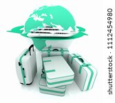 luggage for a round world voyage | Shutterstock . vector #1112454980