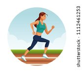 fitness woman running | Shutterstock .eps vector #1112461253