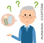 elderly man who forgot whether... | Shutterstock .eps vector #1112472266