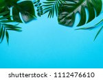 green palm and monstera leaf... | Shutterstock . vector #1112476610