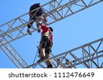 group of worker in safety... | Shutterstock . vector #1112476649